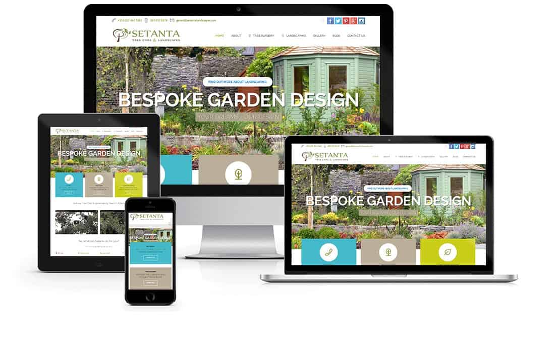 Responsive webdesign for Setanta Landscapes Dublin